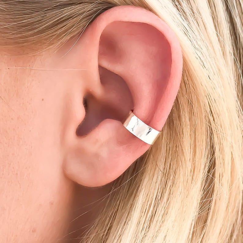Hammered Ear Cuff  Sterling Silver Ear Cuff No Pierce image 0