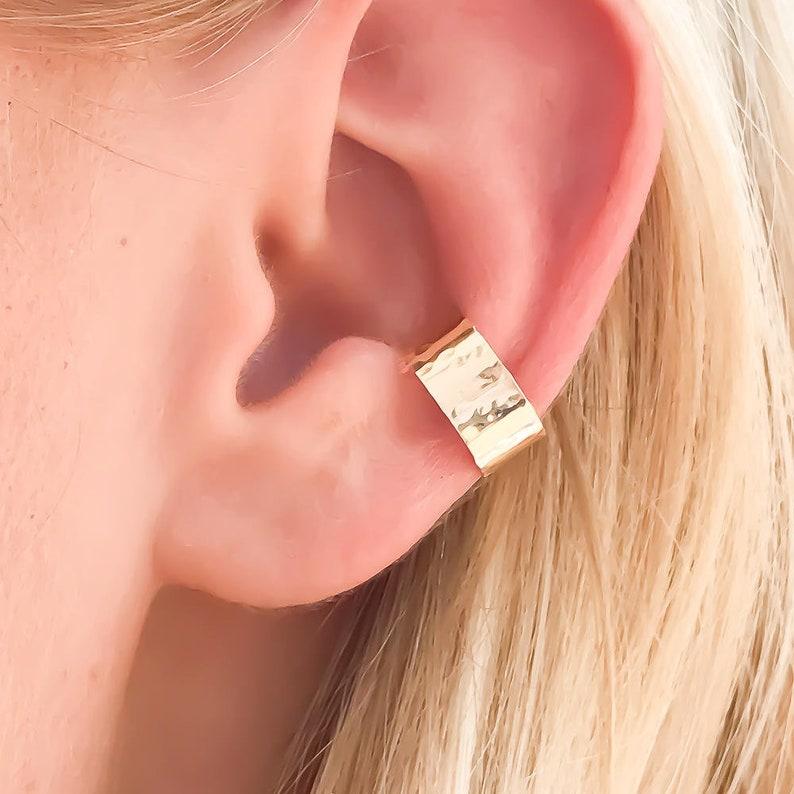 Hammered Ear Cuff Gold Filled Ear Cuff Gold Ear Wrap Non image 0