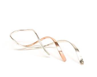 Spiral Threader Earrings, Silver Earrings, Rose Gold Earrings, Dangle Earrings, Threader Earrings, Minimalist Earring