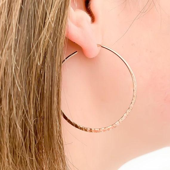 Rose Gold Hoop Earrings Small Hoops Tiny Rose Gold Hoop Tiny 14k Tribal Hoop Earrings Sculpted Recycled 14K Rose Gold Rose Gold Earrings