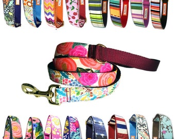 Twin prints dog leash with D ring Floral Dots Stripe Geometric Tribal Folk Zen Turquoise Blue Red Pink  Green Brown cute stylish dog lead