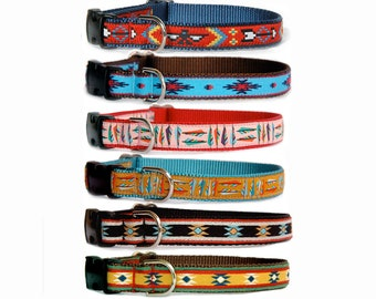 Maroon Orange Woven Dog Collars for girls Hand Stamped Leather Tag Dog Collar Personalized Tribal Aztec Boho Dog Collars for boy