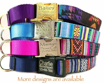 Martingale dog collar Personalized laser engraved buckle dog id tag Embroidery dog collar Southwest Aztec Navajo Boho personalized gift