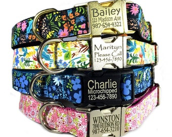 Flower dog collar Personalized laser engraved dog id tag buckle pet collar Small floral print black yellow blue custom pink cute dog collar