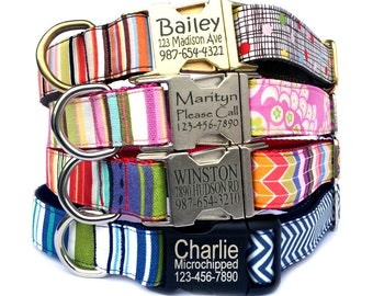 Personalized dog collar Laser engraved buckle dog ID tag stylish blue red pink stripe chevron polka dots floral personalized gift dog lover