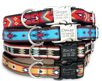 Personalized dog collar Laser engraved buckle Pet ID tag Navajo Tribal Boho Aztec Personalized gift Dog lover Marityn Dog Boy dog Girl Dog