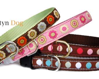 Polka dots dog collar Floral dog collar Pink cute girl dog collar Boy dog collar adjustable dog collar Christmas holiday gift for pet lover