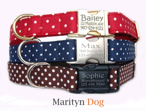 swiss dots personalized dog collar dog id tag metal buckle dog etsy