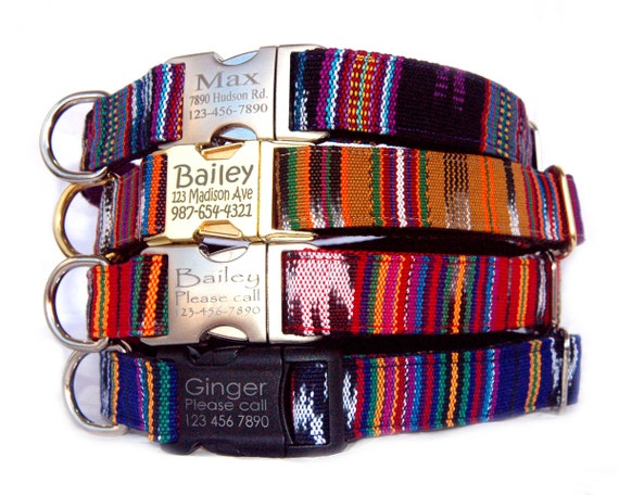 ikat personalized dog collar engraved metal plastic buckle id etsy
