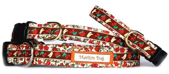 Floral dog collar Cute girl dog collars for small dog large dog Femnine dog collar or dog collar and dog leash set cotton fabric pet collar