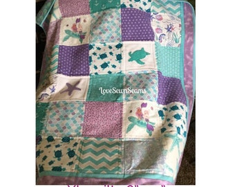 MADE TO ORDER/Sea Turtle and Mermaid Quilt/Sea Turtle baby quilt/Mermaid baby quilt/Sea Turtle/Mermaid