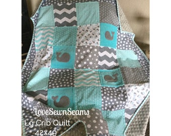 MADE TO ORDER/Nautical quilt/Baby quilt/Whale Baby Quilt Super Soft & Cozy/Gray and Aqua Nautical Quilt