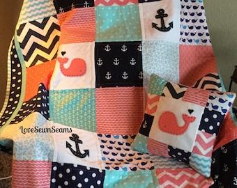 Coral/Navy/Aqua Nautical Quilt/CORAL Nautical quilt