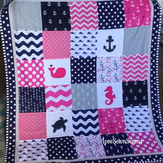 Modern Baby QuiltNautical Baby QuiltHot Pink Baby BeddingBaby QuiltSea Turtle