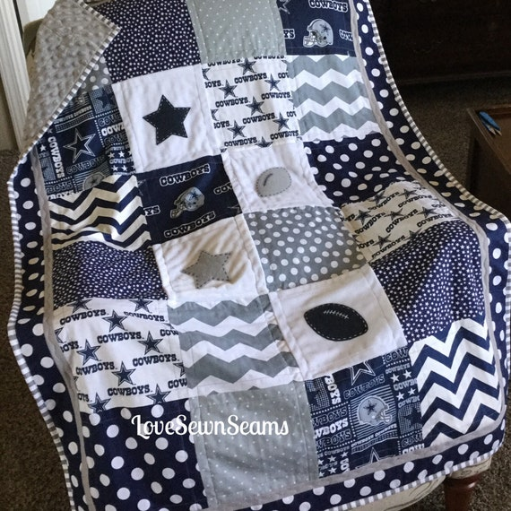 DALLAS COWBOY Quilt In Navy Gray WhiteNFL Dallas Cowboy Etsy Mesmerizing Dallas Cowboys Decorative Pillow