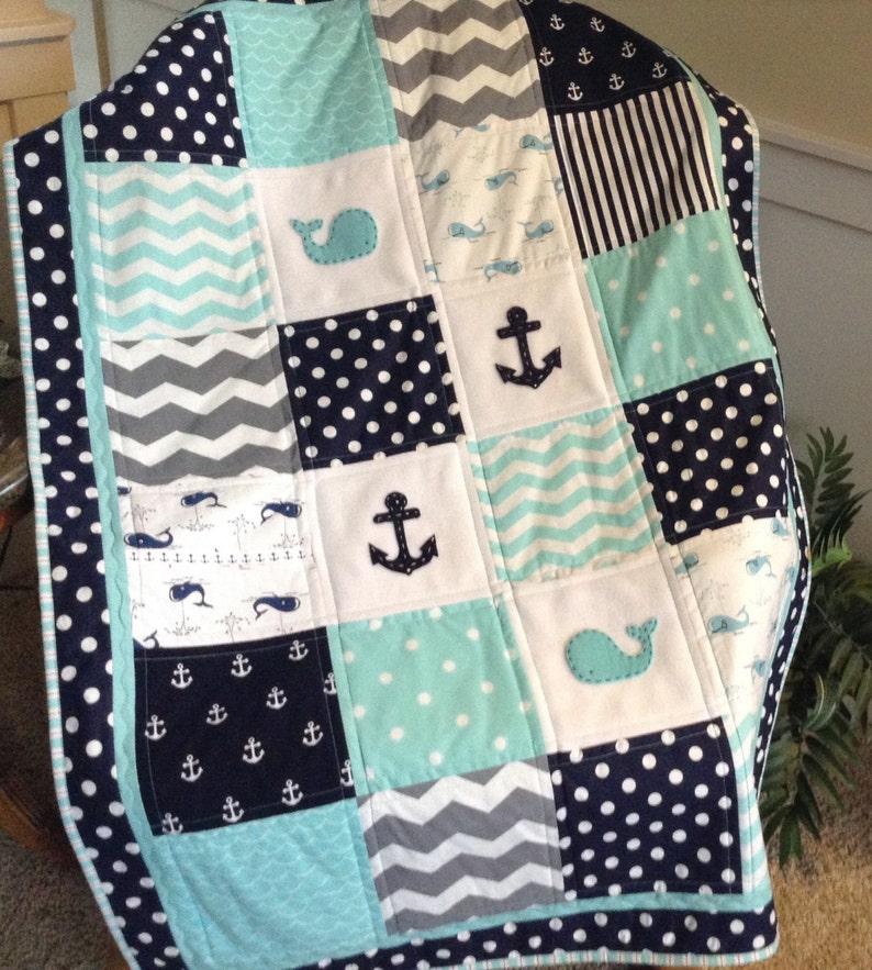 QUILT w SKIRT OptionBaby Quiltcrib size whaleanchor quiltmatching crib skirt w trim