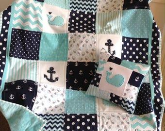 Nautical Baby quilt/Aqua Navy and White/HANDMADE in USA/Pillow Optional