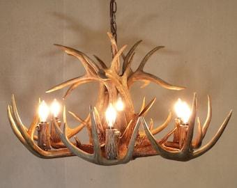 Antler chandelier etsy 26 27 dia 6 light down light real aloadofball Choice Image