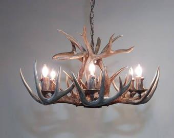 Antler chandelier etsy 28 29 dia 6 light down light real aloadofball Choice Image
