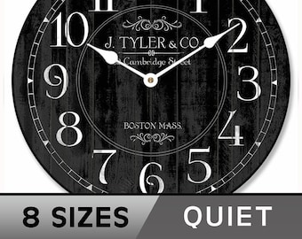 Harbor Black Wall Clock, large wall clock, Choose from 8 sizes. extra QUIET mechanism, LIFETIME Warranty, We can add YOUR words.