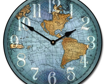 World map clock etsy vincenzo blue world map wall clock gumiabroncs Images