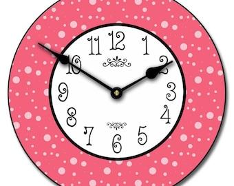 Hot Pink Dots Wall Clock
