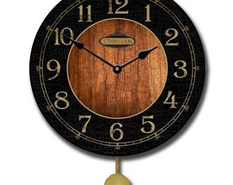 Black & Wood Pendulum Wall Clock