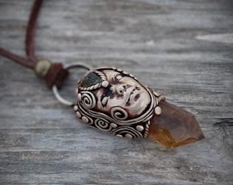 Moldavite and Citrine Point Goddess Necklace Pendant
