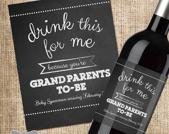 baby announcement grandparent etsy