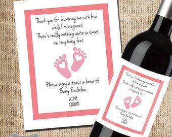 shower hostess gift baby shower thank you gift for hosting baby shower wine label wine gift for shower thank you wine label