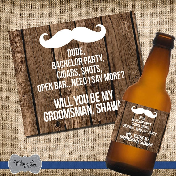 Will you be my bestman//Groomsman cigar holder card-Moustache-wedding favour