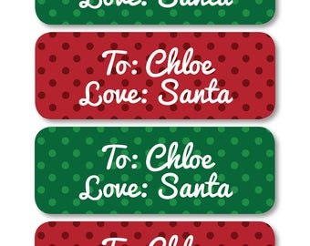 personalized santa labels, santa labels for christmas, custom christmas tags for presents, santa gift labels, christmas labels