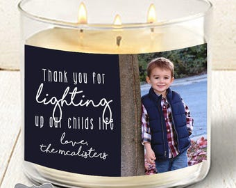 Teacher Christmas Gift, Teacher Candle Label, Teacher Gift, Daycare Provider Gift, Christmas Candle Labels, Personalized Candle Label, Label