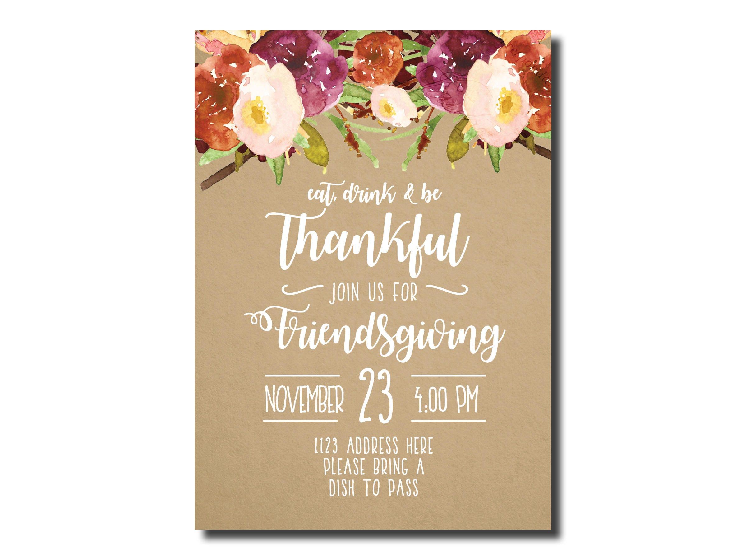 friendsgiving invitation thanksgiving invitation etsy