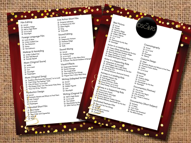 Oscar Party Ballot Oscar Party Game Academy Awards Ballot | Etsy