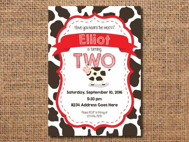 Cow birthday invitation farm birthday invite animal birthday etsy image 0 filmwisefo