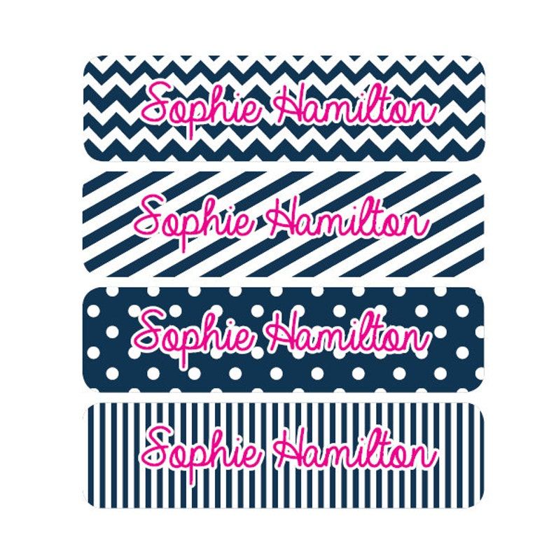 toy label pink address label custom book label chevron label 80 personalized name labels custom camp school daycare name sticker