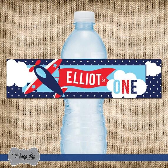 Airplane Water Bottle Label 1st Birthday Water Bottle