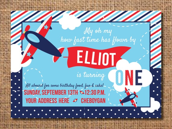 airplane birthday invitation first birthday boy invitation etsy