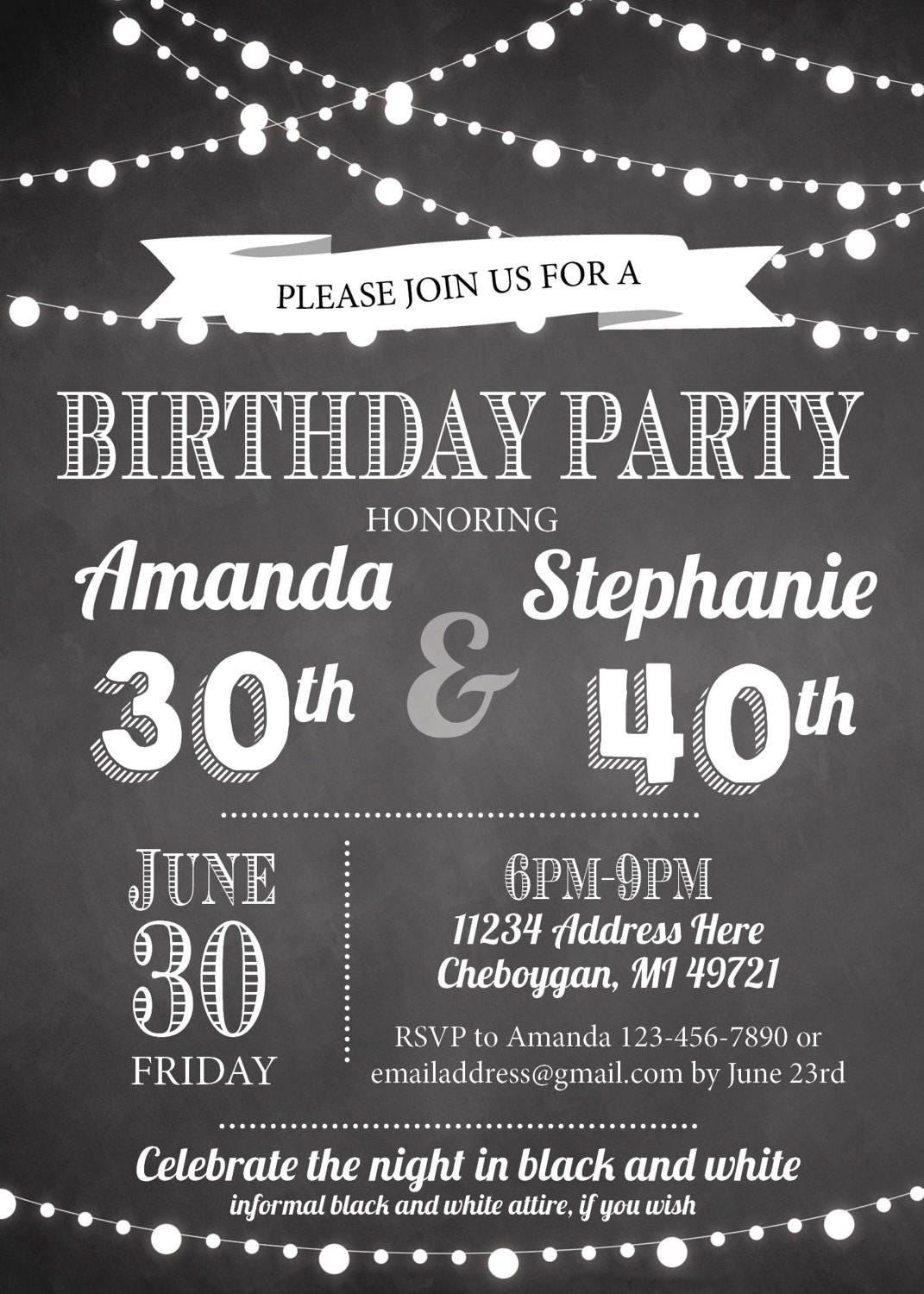 Adult Joint Birthday Party Invitation, Black and White Birthday ...