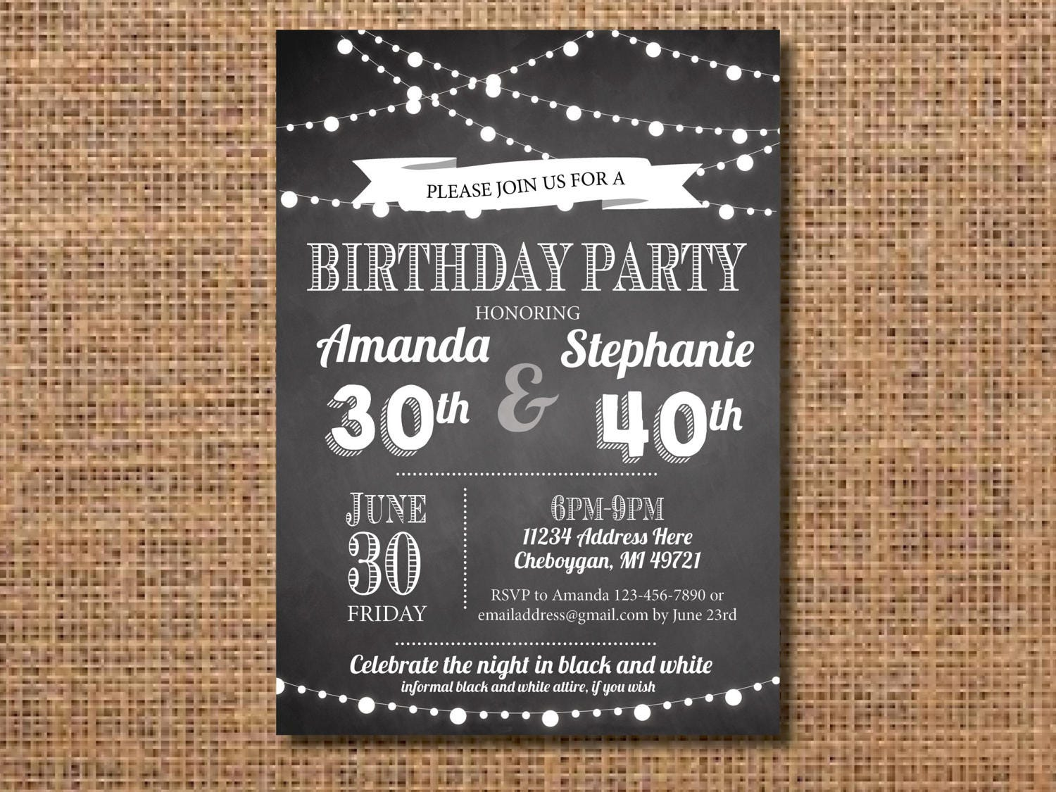 Adult Joint Birthday Party Invitation Black and White Birthday