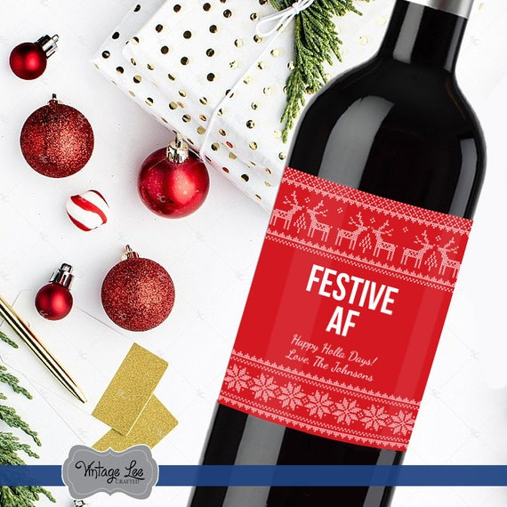 Funny Christmas Wine Label Christmas Wine Bottle Labels Etsy