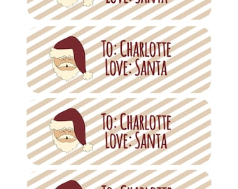 Personalized Santa Labels, Santa Gift Tags, Christmas Gift Labels, Personalized Santa Stickers, Santa Claus Labels, Labels from Santa, Gifts