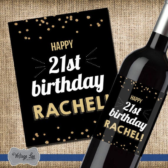 21st Birthday Gift For Her 21st Birthday Wine Label 21st