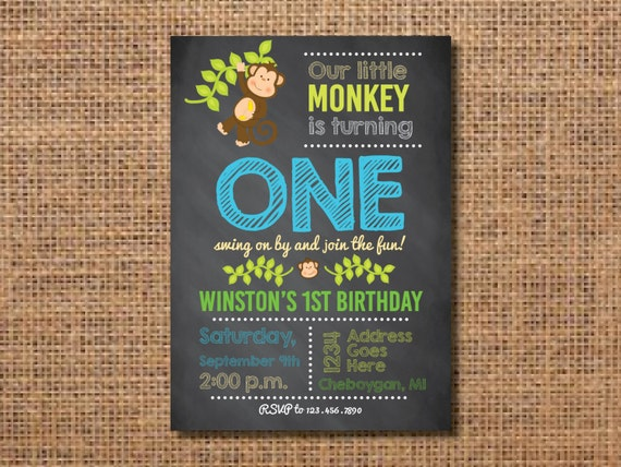 Monkey Birthday Invitation First Boy