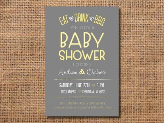 Bbq Baby Shower Invitation Yellow Gray Baby Shower Etsy