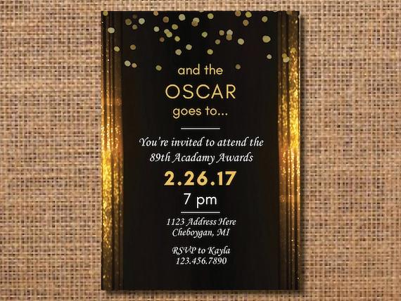 oscar party invitation oscar party academy awards party etsy