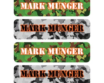 80 personalized name labels, school stickers, custom school label, teacher labels, book labels, back to school supply sticker, camo label