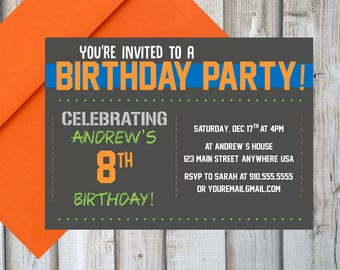BOYS BIRTHDAY INVITATION Printable Customized Chalkboard Sports Orange And Blue Boys Birthday Party Invite Digital Print
