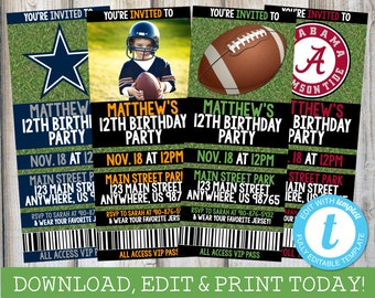 FOOTBALL BIRTHDAY INVITATION Football Invitation Ticket Birthday Invitations Tailgate